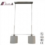 Modern Satin Nickel Two Bulb Pendant Light for Bar